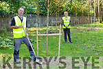 John Doody and Kathleen Foley with the new trees the council planted on Misson Road