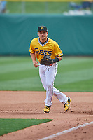 Matt Thaiss (10) of the Salt Lake Bees during the game against the Tacoma Rainiers at Smith's Ballpark on May 16, 2021 in Salt Lake City, Utah. The Bees defeated the Rainiers 8-7. (Stephen Smith/Four Seam Images)