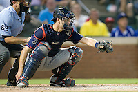 Minnesota Twins catcher Joe Mauer #7 catches a called third strike during a Major League Baseball game against the Texas Rangers at the Rangers Ballpark in Arlington, Texas on July 27, 2011. Minnesota defeated Texas 7-2.  (Andrew Woolley/Four Seam Images)