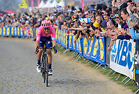 Alberto Bettiol (ITA/EF Education First) solo's up the highest part of the Oude Kwaremont<br /> <br /> 103rd Ronde van Vlaanderen 2019<br /> One day race from Antwerp to Oudenaarde (BEL/270km)<br /> <br /> ©kramon
