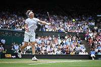 9th July 2021, Wimbledon, SW London, England; 2021 Wimbledon Championships, semi finals; Denis Shapovalov Can returns to Novak Djokovic