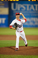 Auburn Doubledays relief pitcher Jared Johnson (29) delivers a pitch during a game against the Connecticut Tigers on August 8, 2017 at Falcon Park in Auburn, New York.  Auburn defeated Connecticut 7-4.  (Mike Janes/Four Seam Images)