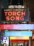 """Theatre Marquee for the Broadway Opening Night of """"Torch Song"""" at the Hayes Theater on November 1, 2018 in New York City."""
