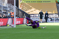 Fulham's Alphonse Areola concedes a goal from Wolverhampton Wanderers' Pedro Neto <br /> <br /> Photographer David Horton/CameraSport<br /> <br /> The Premier League - Wolverhampton Wanderers v Fulham - Sunday 4th October 2020 - Molineux Stadium - Wolverhampton<br /> <br /> World Copyright © 2020 CameraSport. All rights reserved. 43 Linden Ave. Countesthorpe. Leicester. England. LE8 5PG - Tel: +44 (0) 116 277 4147 - admin@camerasport.com - www.camerasport.com