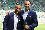 AS SAINT-ETIENNE vs FC LORIENT Football Match Ligue 1 Uber Eats. Saint-Etienne, France on August 8, 2021. In action journalist Prime Video Saber Desfarges (L) and Jérôme Alonzo