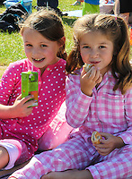 2016 09 18<br /> Pictured: Picnic-goers at The Great Pyjama Picnic, Bute Park, Cardiff. Sunday 18 September 2016<br /> Re: Roald Dahl's City of the Unexpected has transformed Cardiff City Centre into a landmark celebration of Wales' foremost storyteller, Roald Dahl, in the year which celebrates his centenary.
