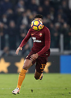 Calcio, Serie A: Juventus vs Roma. Torino, Juventus Stadium,17 dicembre 2016. <br /> Roma's Emerson Palmieri has his face hidden by the ball during the Italian Serie A football match between Juventus and Roma at Turin's Juventus Stadium, 17 December 2016.<br /> UPDATE IMAGES PRESS/Isabella Bonotto