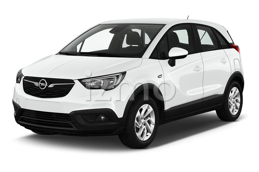 2019 Opel Crossland-X Edition 5 Door SUV Angular Front stock photos of front three quarter view
