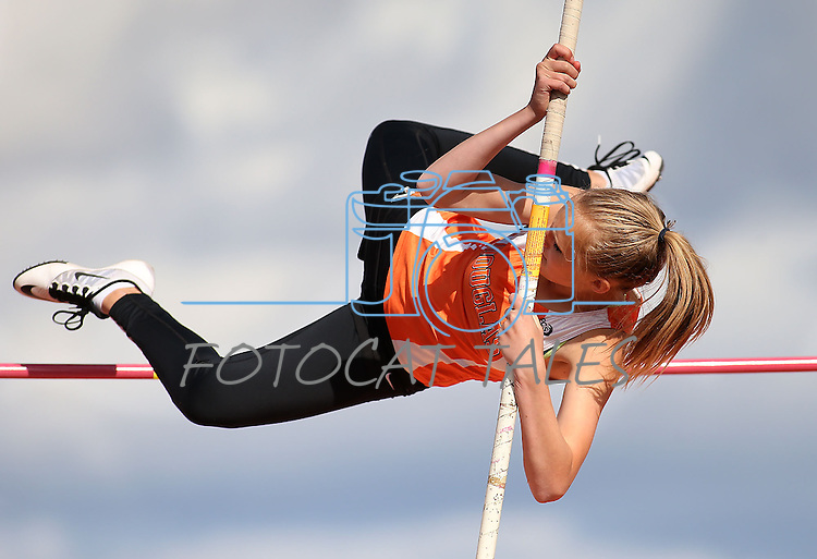 Douglas' Hunter Celio competes in the pole vault at the Big George Invitational track meet at Douglas High School in Minden, Nev., on Saturday, April 25, 2015. <br /> Photo by Cathleen Allison