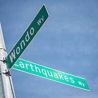 SAN JOSE, CA - APRIL 24: PayPal Park road sign before a game between FC Dallas and San Jose Earthquakes at PayPal Park on April 24, 2021 in San Jose, California.