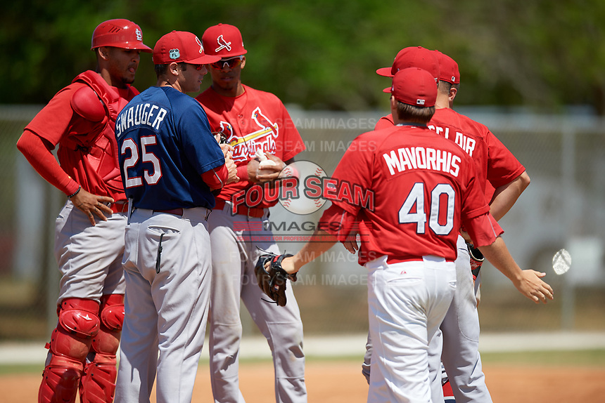 St. Louis Cardinals manager Chris Swauger (25) makes a pitching change to Levi MaVorhis (40) as catcher Ryan McCarvel (12) and shortstop Delvin Perez look on during a minor league Spring Training game against the Washington Nationals on March 27, 2017 at the Roger Dean Stadium Complex in Jupiter, Florida.  (Mike Janes/Four Seam Images)