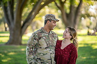 Happy young off duty US Army soldier with his wife, for sale as stock photography