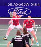 Wales' Oliver Gwilt, left, with team-mate Sarah Thomas, <br /> <br /> Photographer Chris Vaughan/Sportingwales<br /> <br /> 20th Commonwealth Games - Day 6 - Tuesday 29th July 2014 - Badminton - Emirates Arena including the Sir Chris Hoy Velodrome - Glasgow - UK
