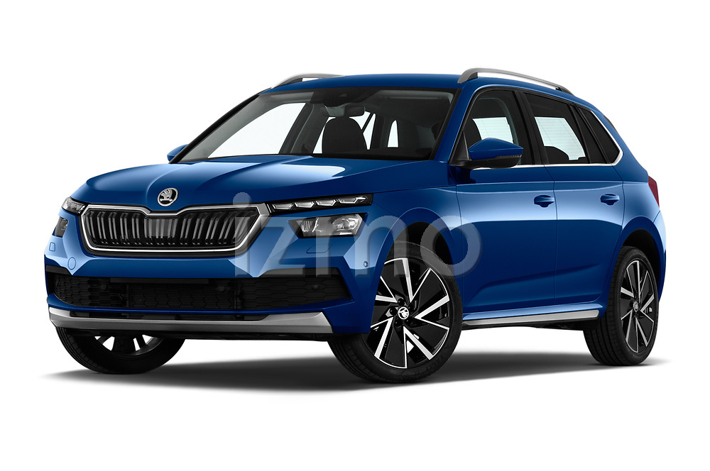 Stock pictures of low aggressive front three quarter view of a 2020 Skoda Kamiq Style 5 Door SUV