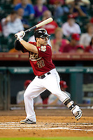 Houston Astros second baseman Jose Altuve #27 at bat during the Major League baseball game against the Philadelphia Phillies on September 16th, 2012 at Minute Maid Park in Houston, Texas. The Astros defeated the Phillies 7-6. (Andrew Woolley/Four Seam Images).