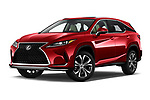 Stock pictures of low aggressive front three quarter view of 2021 Lexus RX 350L 5 Door SUV Low Aggressive
