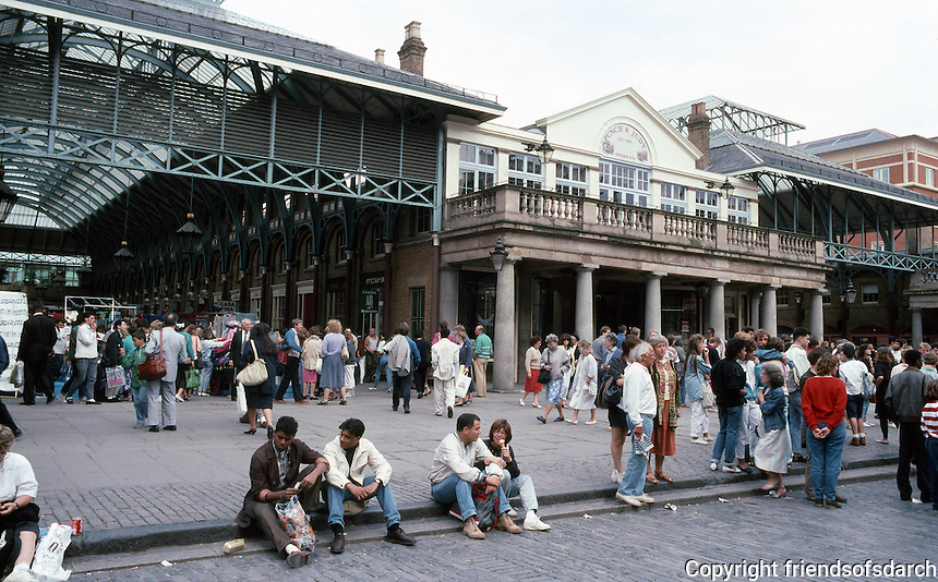 London: Covent Garden--the market from the same spot as No. 1, 1987. The Central Market Hall dates from 1831.