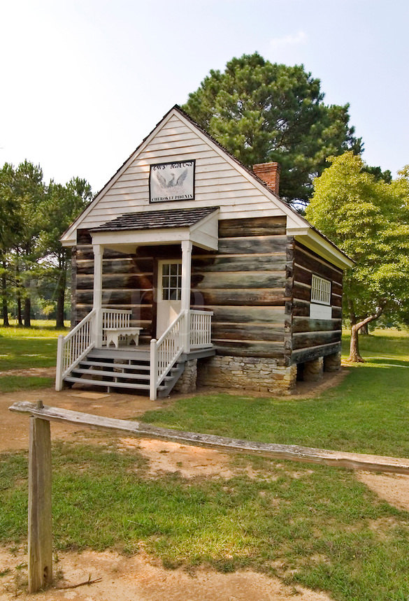 Reconstruction of the Cherokee government Printing Office, originally built at New Echota, Georgia in 1827.  The world's first Indian language newspaper, the Cherokee Phoenix, was published weekly at New Echota, from 1828-1834.