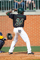 Desmond Roberts (26) of the Charlotte 49ers at bat against the Canisius Golden Griffins at Hayes Stadium on February 23, 2014 in Charlotte, North Carolina.  The Golden Griffins defeated the 49ers 10-1.  (Brian Westerholt/Four Seam Images)