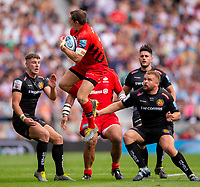 Saracens' Alex Goode takes a high ball<br /> <br /> Photographer Bob Bradford/CameraSport<br /> <br /> Gallagher Premiership Final - Exeter Chiefs v Saracens - Saturday 1st June  2018 - Twickenham Stadium - London<br /> <br /> World Copyright © 2019 CameraSport. All rights reserved. 43 Linden Ave. Countesthorpe. Leicester. England. LE8 5PG - Tel: +44 (0) 116 277 4147 - admin@camerasport.com - www.camerasport.com