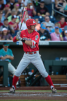 Jared Oliva #42 of the Arizona Wildcats bats during a College World Series Finals game between the Coastal Carolina Chanticleers and Arizona Wildcats at TD Ameritrade Park on June 27, 2016 in Omaha, Nebraska. (Brace Hemmelgarn/Four Seam Images)