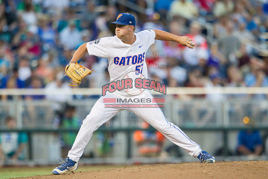 Florida Gators pitcher Kirby Sneed (57) delivers a pitch to the plate against the Coastal Carolina Chanticleers in Game 4 of the NCAA College World Series on June 19, 2016 at TD Ameritrade Park in Omaha, Nebraska. Coastal Carolina defeated Florida 2-1. (Andrew Woolley/Four Seam Images)