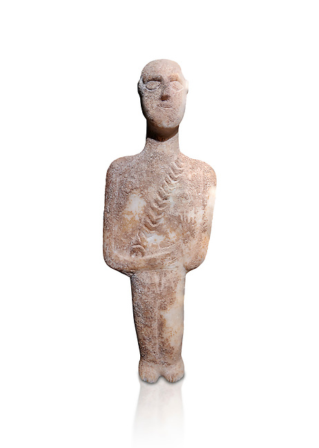 Post canonical ancient Greek Cycladic warrior or hunter figurine, Late Ccladic prioc II to Cycladic period II (2500-2000 BC)Museum of Cycladic Art Athens, cat no 308. Against white.<br /> <br /> The relif of a baldric crossing the body left to righ suggest the figure was of a warrior or hunter. A small triangular dagger is incised as if hanging from the baldric.