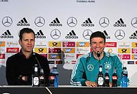 21.03.2018, Press conference der Deutschen Football-Nationalmannschaft vor dem Test-Laenderspiel Germany - Spanien, im Hotel Hilton in Duesseldorf.  Manager Oliver Bierhoff (Germany) und Thomas Mueller (Germany). *** Local Caption *** © pixathlon +++ tel. +49 - (040) - 22 63 02 60 - mail: info@pixathlon.de<br /> <br /> +++ NED + SUI out !!! +++