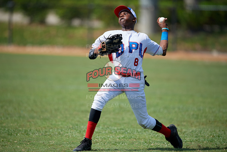 Elvis Rojas (8) during the Dominican Prospect League Elite Florida Event at Pompano Beach Baseball Park on October 15, 2019 in Pompano beach, Florida.  (Mike Janes/Four Seam Images)