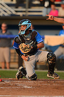 Hudson Valley Renegades catcher Oscar Hernandez (28) during a game against the Batavia Muckdogs on August 7, 2013 at Dwyer Stadium in Batavia, New York.  Batavia defeated Hudson Valley 15-6.  (Mike Janes/Four Seam Images)
