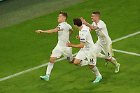 2nd July 2021; Allianz Arena, Munich, Germany; European Football Championships, Euro 2020 quarterfinals, Belgium versus Italy;  Goal celebration from Nicolo Barella Italy for 1-0