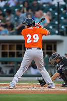 Francisco Pena (29) of the Norfolk Tides at bat against the Charlotte Knights at BB&T BallPark on April 20, 2016 in Charlotte, North Carolina.  The Knights defeated the Tides 6-3.  (Brian Westerholt/Four Seam Images)