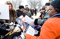 Obama themed merchandise is sold near the Capitol grounds in Washington D.C. on January 19th, 2009, where Barack Obama is set to be sworn in as the 44th President of the United States the following day.