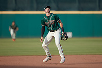 Greensboro Grasshoppers third baseman Jared Triolo (19) on defense against the Winston-Salem Dash at First National Bank Field on June 3, 2021 in Greensboro, North Carolina. (Brian Westerholt/Four Seam Images)
