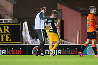 2nd October 2020; Tannadice Park, Dundee, Scotland; Scottish Premiership Football, Dundee United versus Livingston; Alan Forrest of Livingston is congratulated by Julien Serrano at full time after scoring to put his side ahead 2-1 in the 90th minute