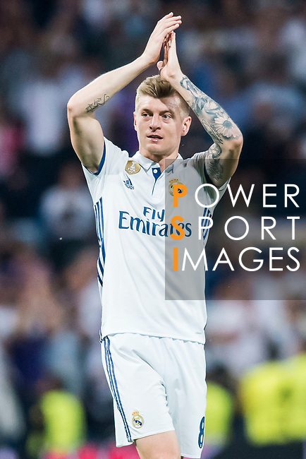 Toni Kroos of Real Madrid celebrates during their 2016-17 UEFA Champions League Semifinals 1st leg match between Real Madrid and Atletico de Madrid at the Estadio Santiago Bernabeu on 02 May 2017 in Madrid, Spain. Photo by Diego Gonzalez Souto / Power Sport Images