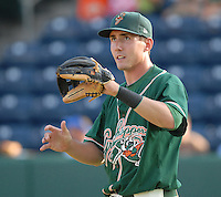 Infielder Chase Austin (8) of the Greensboro Grasshoppers in a game against the Greenville Drive on June 14, 2010, at Fluor Field at the West End in Greenville, S.C. Photo by: Tom Priddy/Four Seam Images