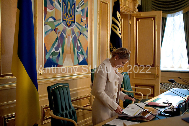 Kiev, Ukraine.August 29, 2005 ..Ukrainian Prime Minister Yulia Temichenko prepares to address a financial budget meeting for the coming year with government officials and economic experts.