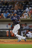 Jacksonville Jumbo Shrimp right fielder Monte Harrison (3) follows through on a swing during a game against the Pensacola Blue Wahoos on August 15, 2018 at Blue Wahoos Stadium in Pensacola, Florida.  Jacksonville defeated Pensacola 9-2.  (Mike Janes/Four Seam Images)