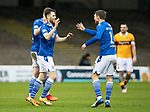 Motherwell v St Johnstone…20.02.21   Fir Park   SPFL<br />Guy Melamed celebrates his goal with David Wotherspoon and Ali McCann<br />Picture by Graeme Hart.<br />Copyright Perthshire Picture Agency<br />Tel: 01738 623350  Mobile: 07990 594431