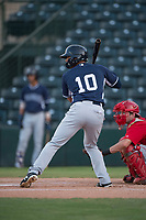 AZL Padres 2 center fielder Sean Guilbe (10) at bat during an Arizona League game against the AZL Angels at Tempe Diablo Stadium on July 18, 2018 in Tempe, Arizona. The AZL Padres 2 defeated the AZL Angels 8-1. (Zachary Lucy/Four Seam Images)