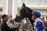 11/09/2011, Winning jockey, Gérald Mossé, debriefing the race Qatar Prix Niel, horse : Reliable Man and his lad