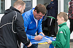 Glentoran v St Johnstone…. 09.07.16  The Oval, Belfast  Pre-Season Friendly<br />Saints manager Tommy Wright signs autographs before kick off<br />Picture by Graeme Hart.<br />Copyright Perthshire Picture Agency<br />Tel: 01738 623350  Mobile: 07990 594431