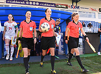 20190306 - LARNACA , CYPRUS : referees pictured wih Finnish assistant referee Tonja Paavola  (right) , Croatian referee Ivana Martincic and French assistant referee Elodie Coppola (l) during a women's soccer game between Slovakia and Hungary , on Wednesday 6 th March 2019 at the Antonis Papadopoulos stadium in Larnaca , Cyprus . This last game for both teams which decides for places 11 and 12 of the Cyprus Womens Cup 2019 , a prestigious women soccer tournament as a preparation on the Uefa Women's Euro 2021 qualification duels. PHOTO SPORTPIX.BE | DAVID CATRY