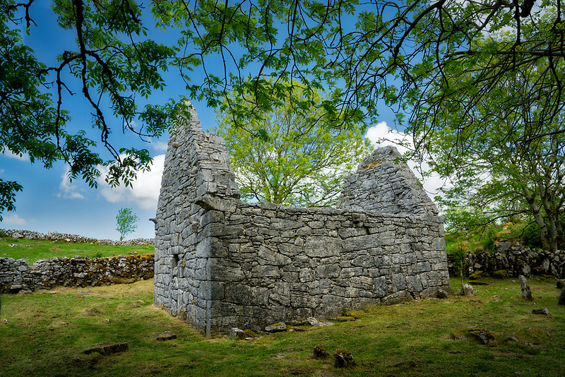 Ruins of ancient Temple Cronan. The Burren, County Clare, Ireland