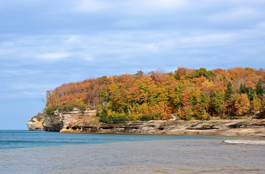 A view of the Pictured Rocks National Lakeshore during the autumn season. Munising, MI