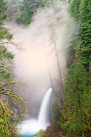 Metlako Falls with fog in winter. Columbia River Gorge National Scenic Area, Oregon