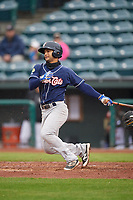 New Hampshire Fisher Cats second baseman Tim Lopes (5) at bat during a game against the Altoona Curve on May 11, 2017 at Peoples Natural Gas Field in Altoona, Pennsylvania.  Altoona defeated New Hampshire 4-3.  (Mike Janes/Four Seam Images)