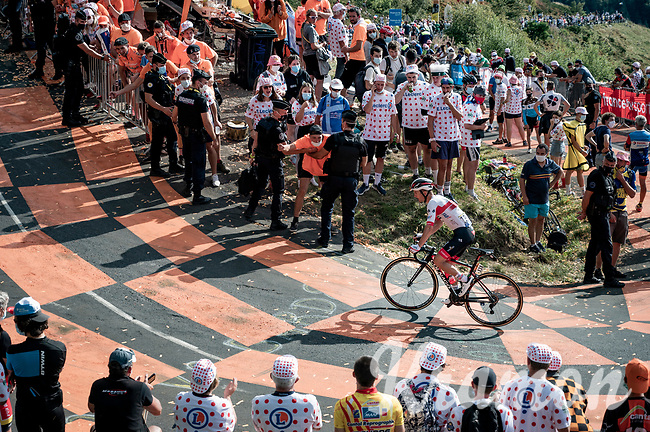 Jan Polanc (SVK/UAE-Emirates) up the Puy Mary (uphill finish)<br /> <br /> Stage 13 from Châtel-Guyon to Pas de Peyrol (Le Puy Mary) (192km)<br /> <br /> 107th Tour de France 2020 (2.UWT)<br /> (the 'postponed edition' held in september)<br /> <br /> ©kramon
