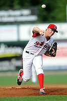 Lowell Spinners starting pitcher Ty Buttrey #31 during a game versus the Jamestown Jammers at LeLacheur park in Lowell, Massachusetts on July 14, 2013. (Ken Babbitt/Four Seam Images)